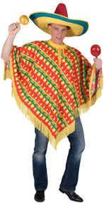 Mens Chilli Print Mexican Poncho