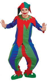Mens Colourful Jester Fancy Dress Costume