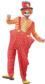 Mens Hooped Clown Fancy Dress Costume