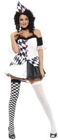 Ladies Harlequin Clown Fancy Dress Costume 2