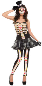Ladies Day of the Dead Tutu Fancy Dress Costume