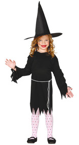 Girls Black Witch Fancy Dress Costume