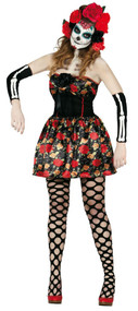 Ladies Day Of The Dead Fancy Dress Costume