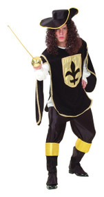 Mens Black Musketeer Fancy Dress Costume