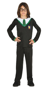Boys Green Wizard Fancy Dress Costume