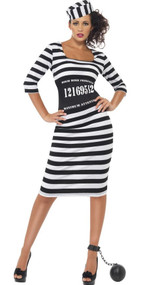 Ladies Classy Convict Fancy Dress Costume