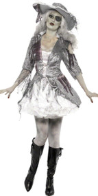 Ladies Ghostly Pirate Maiden Fancy Dress Costume