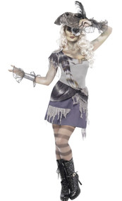 Ladies Phantom Pirate Fancy Dress Costume