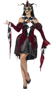 Ladies Gothic Harlequin Fancy Dress Costume