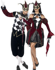 Couples Gothic Harlequin Fancy Dress Costumes