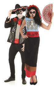 Couples Spanish Day Of The Dead Fancy Dress Costume