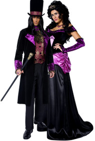 Couples Gothic Count & Countess Fancy Dress Costume
