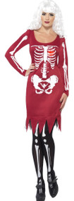 Ladies Blood Red Skeleton Fancy Dress Costume