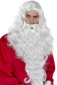 Mens Long Santa Wig & Beard Set
