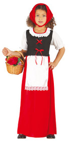 Girls Long Red Inn Keeper Fancy Dress Costume