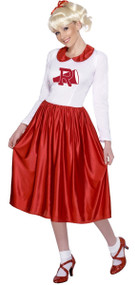 Ladies Longer Length 1950s Cheerleader Fancy Dress Costume