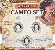 Steampunk Cameo Earrings and Choker Fancy Dress Costume Accessory