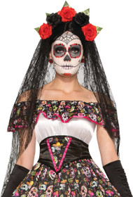 Ladies Day Of The Dead Halloween Veil