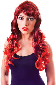 Ladies Red Long Wavy Mermaid Fancy Dress Wig