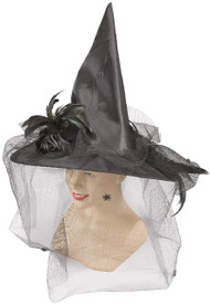 Ladies Black Feather Detail Veiled Witches Hat