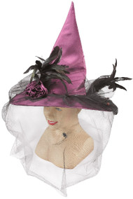Ladies Pink Feather Detail Veiled Witches Hat