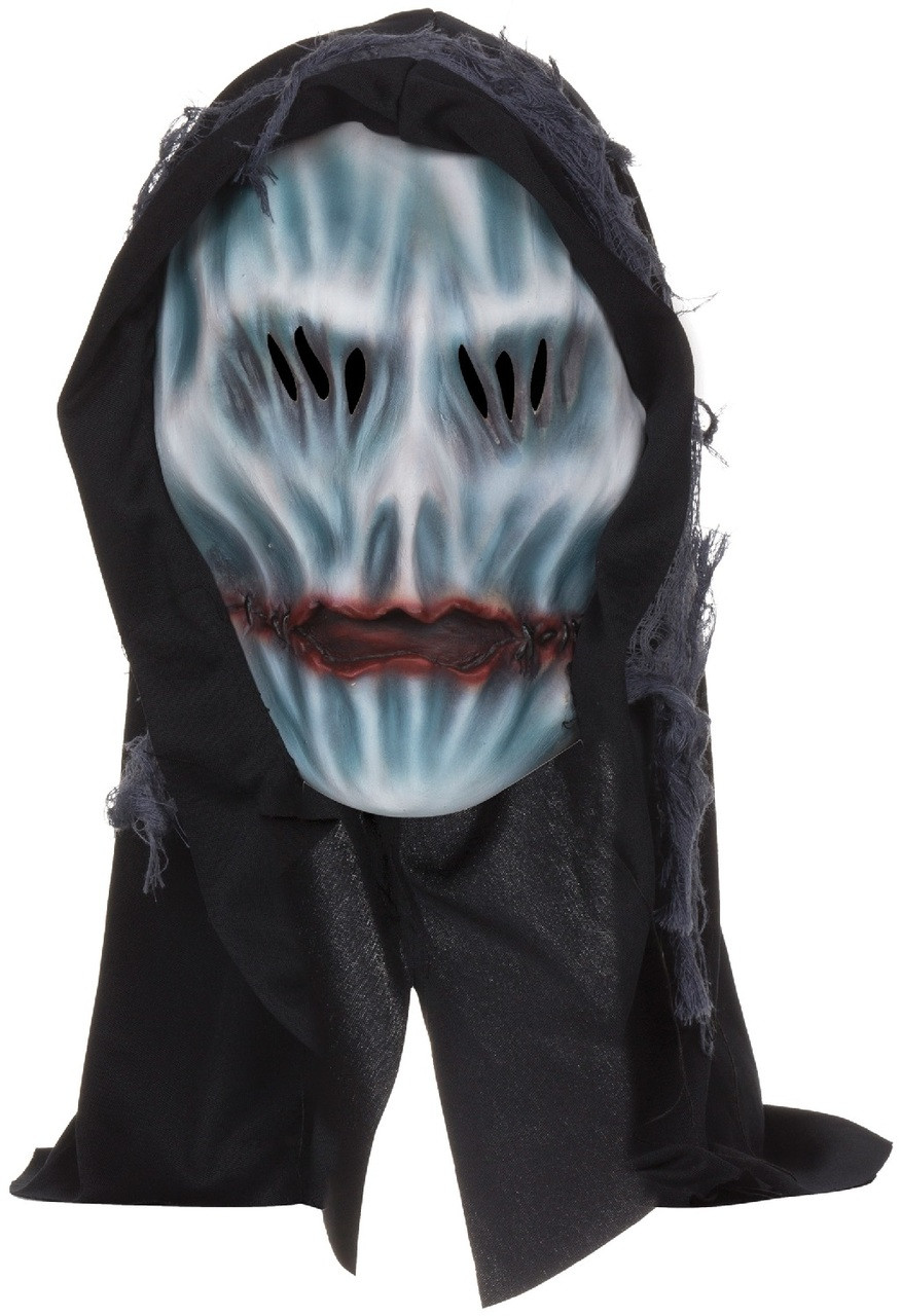 Adults Hooded Ghost Overhead Rubber Mask With Hood - Fancy Me Limited