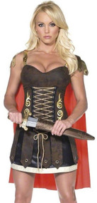 Ladies Sexy Roman Gladiator Fancy Dress Costume