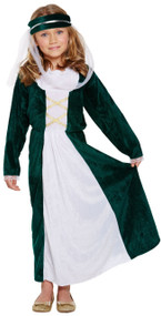 Girls Medieval Maiden Fancy Dress Costume