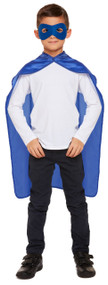 Child's Blue Superhero Cape and Mask Fancy Dress Costume Kit