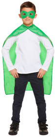 Child's Green Superhero Cape and Mask Fancy Dress Costume Kit