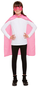 Child's Pink Superhero Cape and Mask Fancy Dress Costume Kit