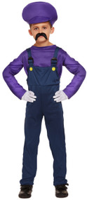 Kids Purple Mario Workman Fancy Dress Costume