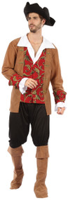 Mens 4 Piece Red Posh Pirate Fancy Dress Costume