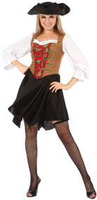 Ladies Sexy Red Pirate Wench Fancy Dress Costume