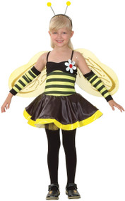 Girls 4 Piece Bumble Bee Fancy Dress Costume