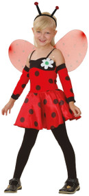 Girls 4 Piece Ladybird Fancy Dress Costume