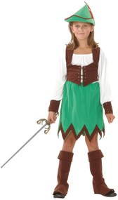 Girls 5 Piece Deluxe Robin Hood Fancy Dress Costume