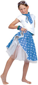 Girls 50's Blue Rock and Roll Skirt Fancy Dress Costume
