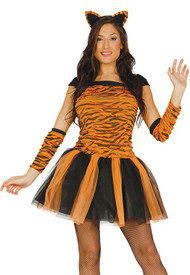 Ladies Tiger Tutu Fancy Dress Costume