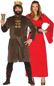 Couples Medieval Game King and Queen Fancy Dress Costume