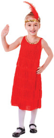 Girls Red Flapper Fancy Dress Costume 1