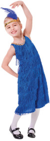 Girls Blue Flapper Fancy Dress Costume