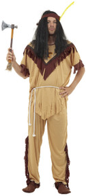 Mens Native American Indian Fancy Dress Costume