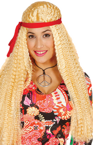 Adults Long Blonde Hippy Fancy Dress Wig