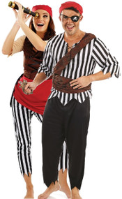 Couples Pirate Deck Hands Fancy Dress Costumes