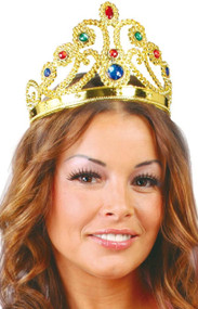 Ladies Gold Queen Crown Hairband Fancy Dress Accessory