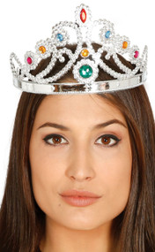 Ladies Silver Jeweled Queen Crown Hairband Fancy Dress Accessory
