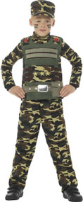 Boys Camouflage Soldier Fancy Dress Costume