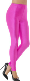 Ladies 80s Neon Pink Fancy Dress Leggings