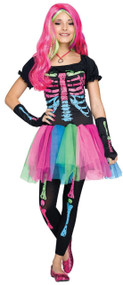 Older Girls Rainbow Skeleton Fancy Dress Costume 1